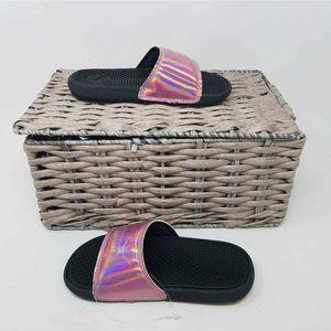 EUC PUMA Girls Pink Holographic Slides Sandals 12